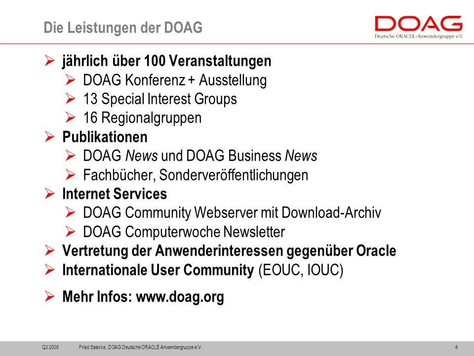  jährlich über 100 Veranstaltungen  DOAG Konferenz + Ausstellung  13 Special Interest Groups  16 Regionalgruppen  Publikationen  DOAG News und D