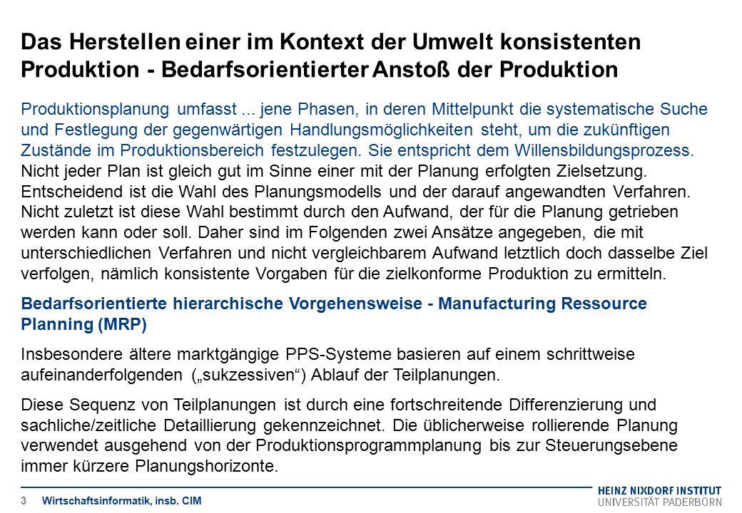 Das Herstellen einer im Kontext der Umwelt konsistenten Produktion - Bedarfsorientierter Anstoß der Produktion Wirtschaftsinformatik, insb. CIM Produk