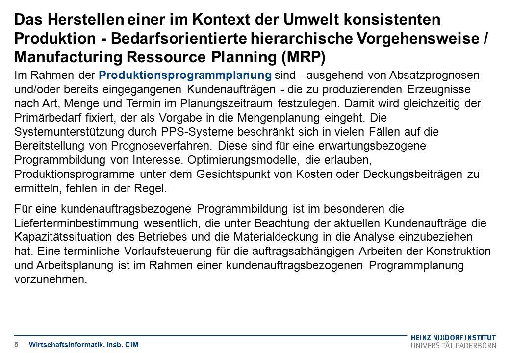 Das Herstellen einer im Kontext der Umwelt konsistenten Produktion - Bedarfsorientierte hierarchische Vorgehensweise / Manufacturing Ressource Plannin
