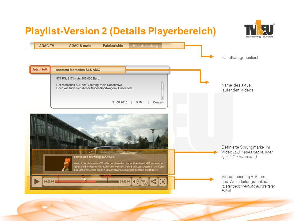 Playlist-Version 2 (Details Playerbereich) Name des aktuell laufenden Videos Hauptkategorienleiste Videosteuerung + Share- und Weiterleitungsfunktion (Detailbeschreibung auf weiterer Folie) Definierte Sprungmarke im Video (z.B.