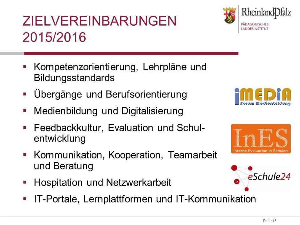 Folie 16 ZIELVEREINBARUNGEN 2015/2016  Kompetenzorientierung, Lehrpläne und Bildungsstandards  Übergänge und Berufsorientierung  Medienbildung und