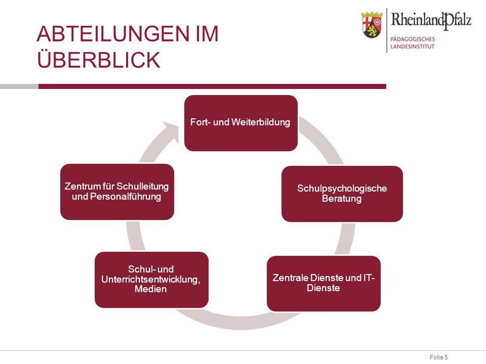 Folie 5 ABTEILUNGEN IM ÜBERBLICK Fort- und Weiterbildung Schulpsychologische Beratung Zentrale Dienste und IT- Dienste Schul- und Unterrichtsentwicklu