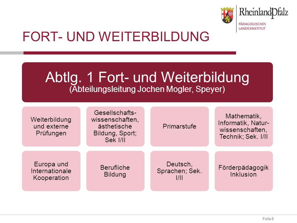 Folie 6 FORT- UND WEITERBILDUNG Abtlg. 1 Fort- und Weiterbildung (Abteilungsleitung Jochen Mogler, Speyer) Weiterbildung und externe Prüfungen Europa