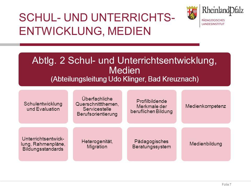 Folie 7 SCHUL- UND UNTERRICHTS- ENTWICKLUNG, MEDIEN Abtlg. 2 Schul- und Unterrichtsentwicklung, Medien (Abteilungsleitung Udo Klinger, Bad Kreuznach)