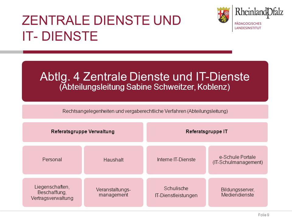Folie 9 ZENTRALE DIENSTE UND IT- DIENSTE Abtlg. 4 Zentrale Dienste und IT-Dienste (Abteilungsleitung Sabine Schweitzer, Koblenz) Rechtsangelegenheiten