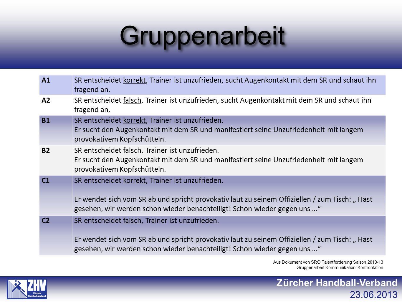 Gruppenarbeit Zürcher Handball-Verband 23.06.2013 A1SR entscheidet korrekt, Trainer ist unzufrieden, sucht Augenkontakt mit dem SR und schaut ihn frag