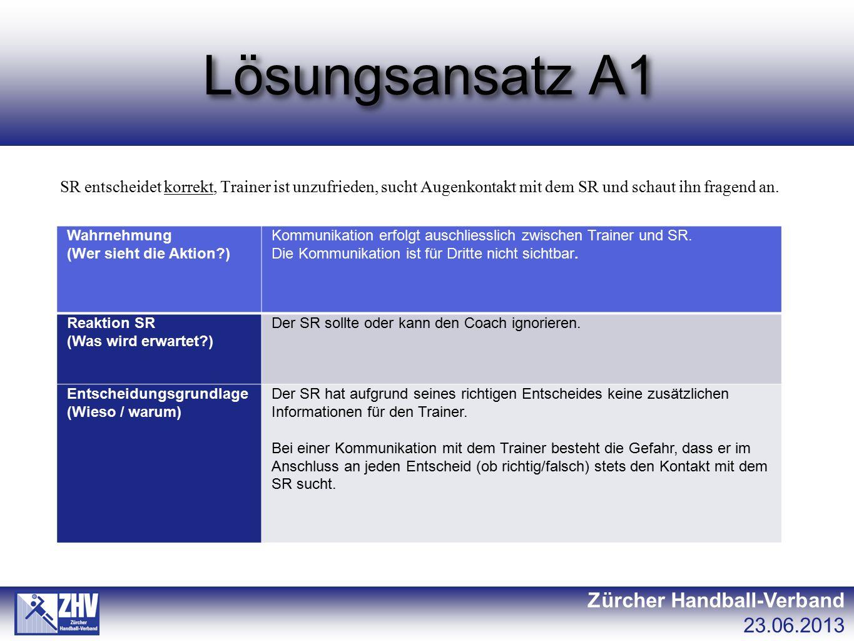 Lösungsansatz A1 Zürcher Handball-Verband 23.06.2013 SR entscheidet korrekt, Trainer ist unzufrieden, sucht Augenkontakt mit dem SR und schaut ihn fra
