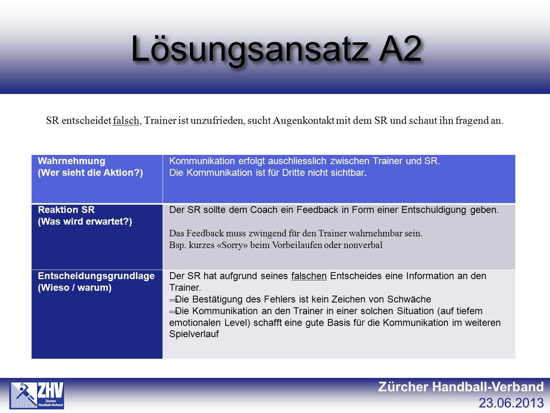 Lösungsansatz A2 Zürcher Handball-Verband 23.06.2013 SR entscheidet falsch, Trainer ist unzufrieden, sucht Augenkontakt mit dem SR und schaut ihn frag