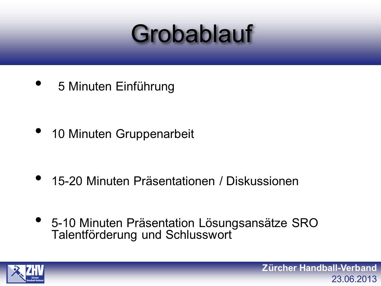 Grobablauf Zürcher Handball-Verband 23.06.2013 5 Minuten Einführung 10 Minuten Gruppenarbeit 15-20 Minuten Präsentationen / Diskussionen 5-10 Minuten