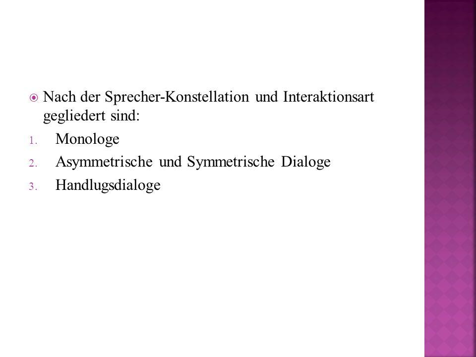  Nach der Sprecher-Konstellation und Interaktionsart gegliedert sind: 1.