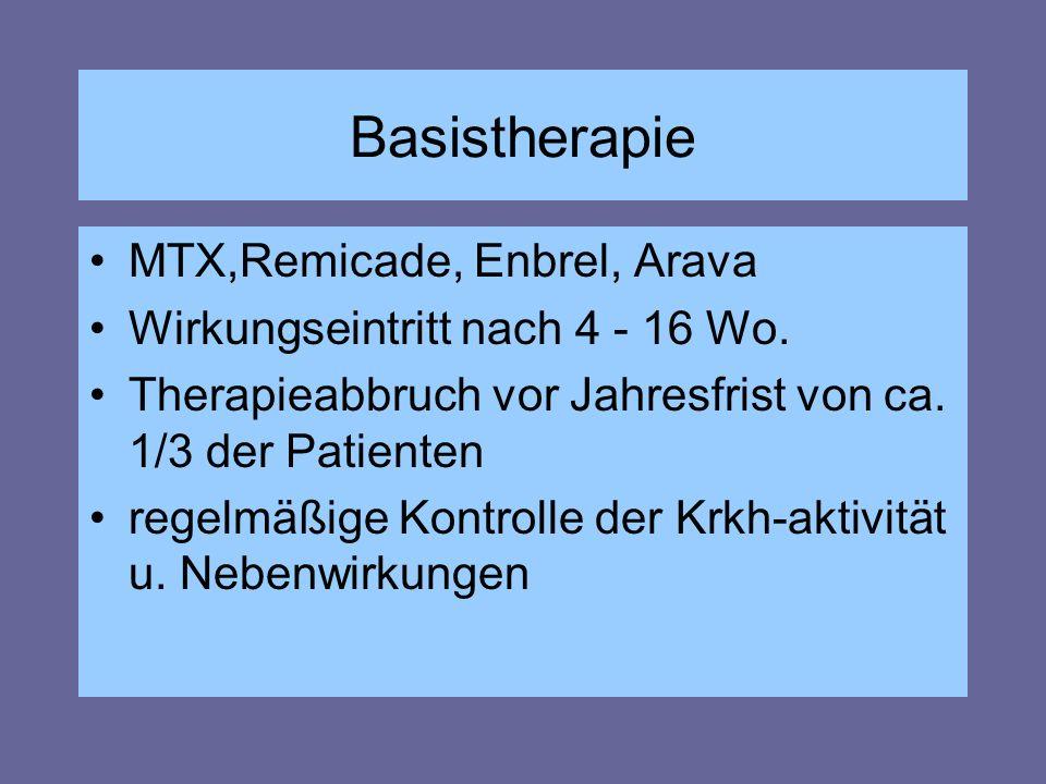 Basistherapie MTX,Remicade, Enbrel, Arava Wirkungseintritt nach 4 - 16 Wo. Therapieabbruch vor Jahresfrist von ca. 1/3 der Patienten regelmäßige Kontr