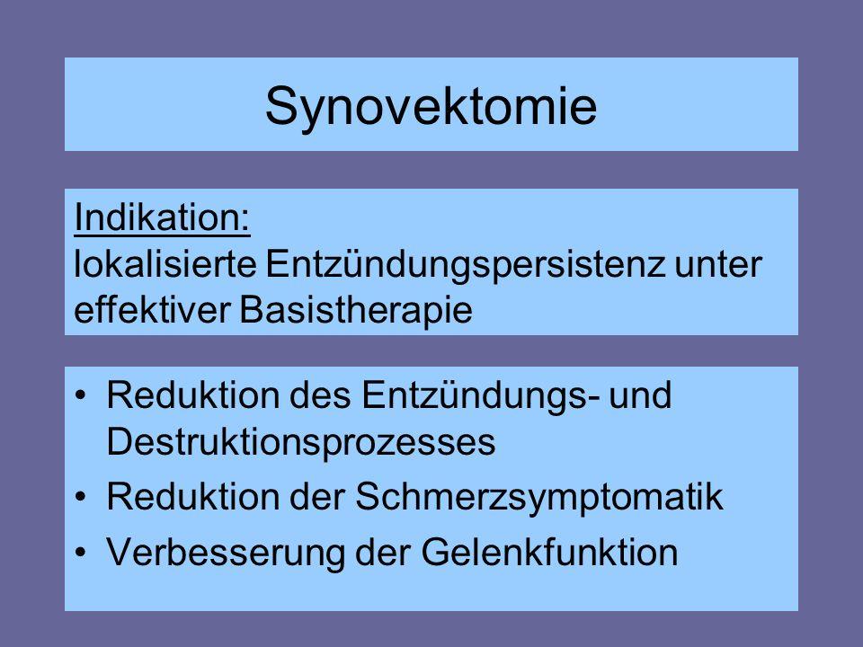 Synovektomie Reduktion des Entzündungs- und Destruktionsprozesses Reduktion der Schmerzsymptomatik Verbesserung der Gelenkfunktion Indikation: lokalis