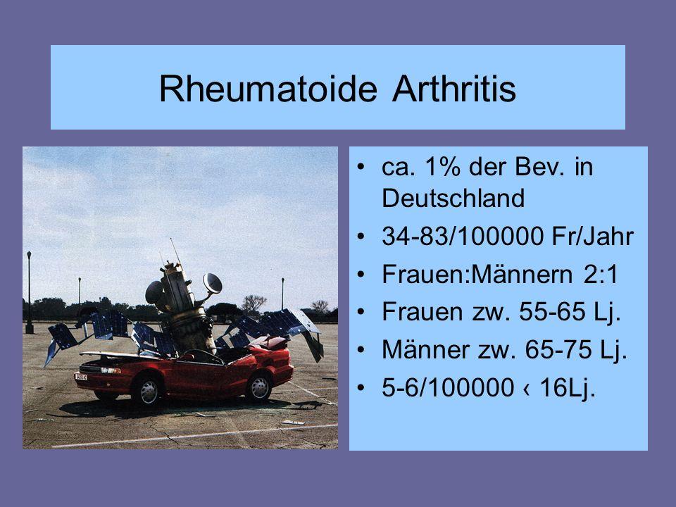Rheumatoide Arthritis ca. 1% der Bev. in Deutschland 34-83/100000 Fr/Jahr Frauen:Männern 2:1 Frauen zw. 55-65 Lj. Männer zw. 65-75 Lj. 5-6/100000 ‹ 16