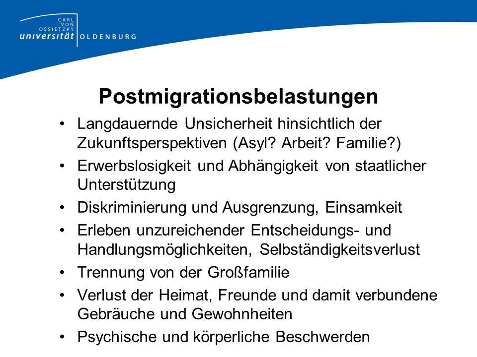Postmigrationsbelastungen Langdauernde Unsicherheit hinsichtlich der Zukunftsperspektiven (Asyl.