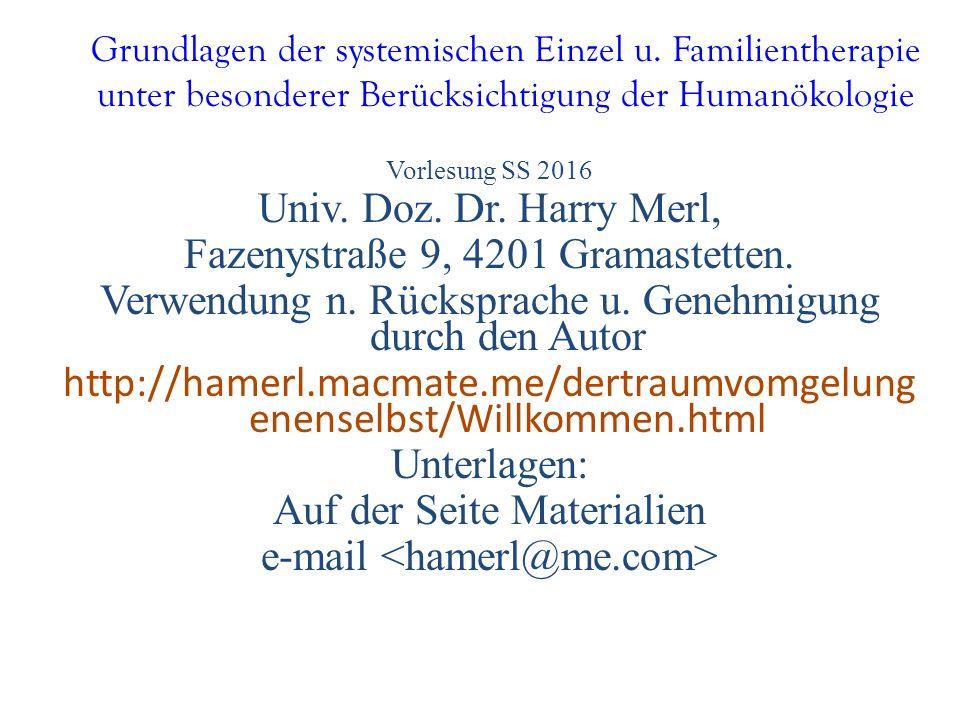 Grundlagen der systemischen Einzel u. Familientherapie unter besonderer Berücksichtigung der Humanökologie Vorlesung SS 2016 Univ. Doz. Dr. Harry Merl