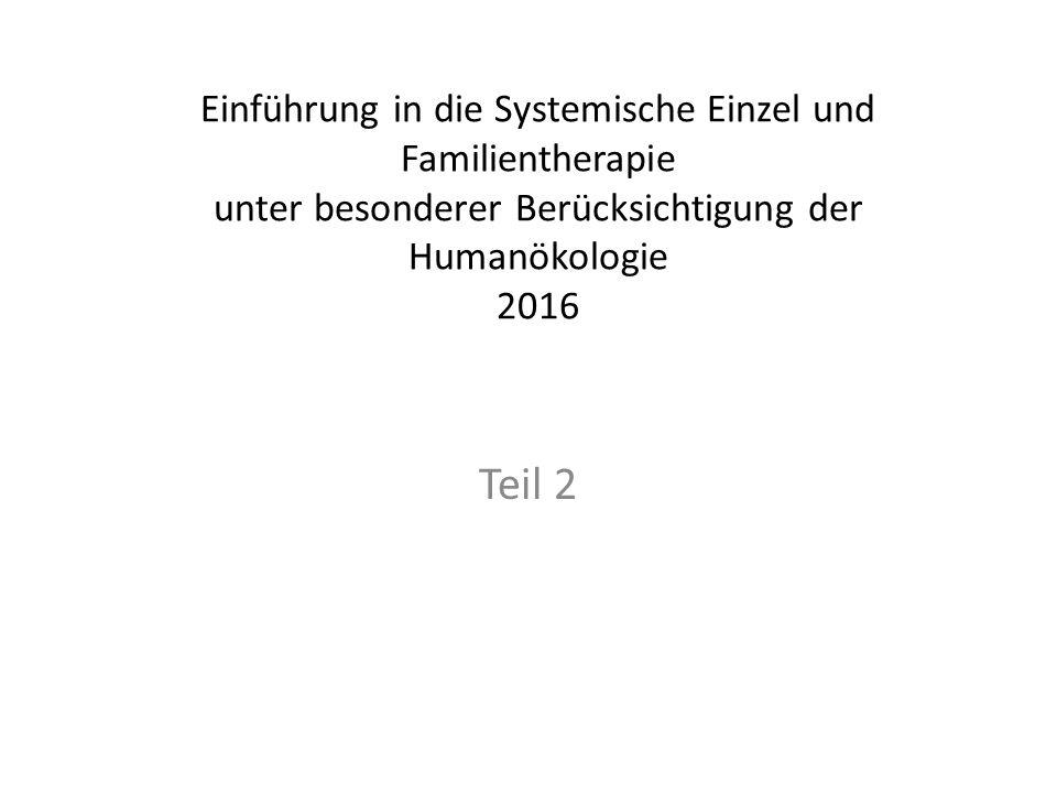 Einführung in die Systemische Einzel und Familientherapie unter besonderer Berücksichtigung der Humanökologie 2016 Teil 2