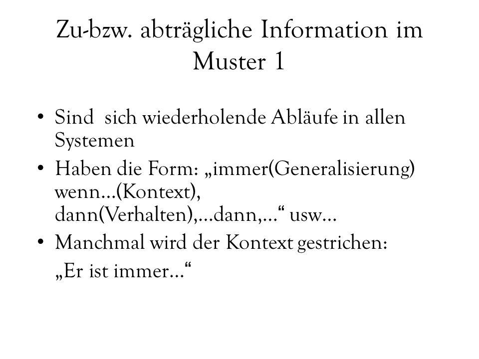 """Zu-bzw. abträgliche Information im Muster 1 Sind sich wiederholende Abläufe in allen Systemen Haben die Form: """"immer(Generalisierung) wenn…(Kontext),"""