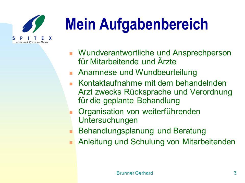 Brunner Gerhard3 Mein Aufgabenbereich Wundverantwortliche und Ansprechperson für Mitarbeitende und Ärzte Anamnese und Wundbeurteilung Kontaktaufnahme