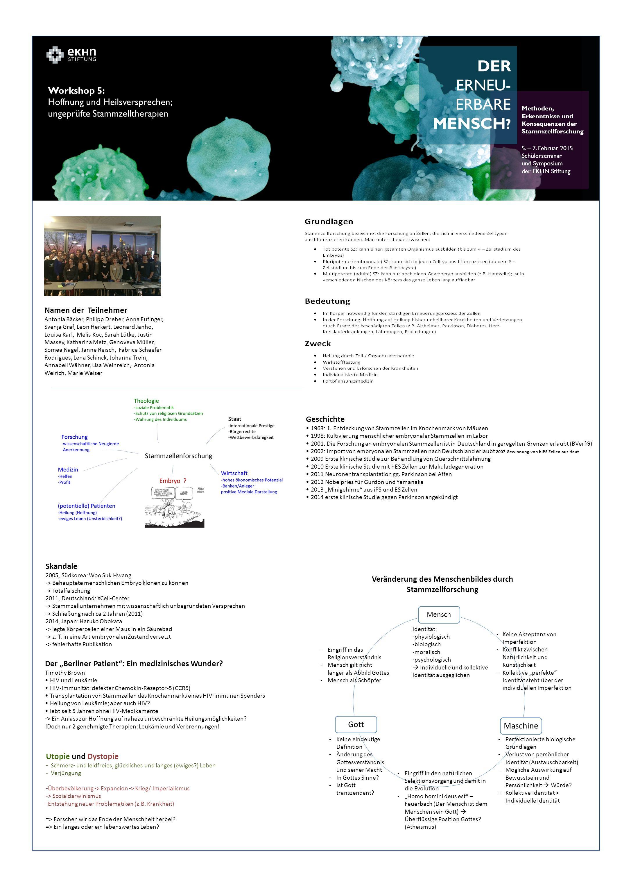 DER ERNEU- ERBARE MENSCH . Methoden, Erkenntnisse und Konsequenzen der Stammzellforschung 5.