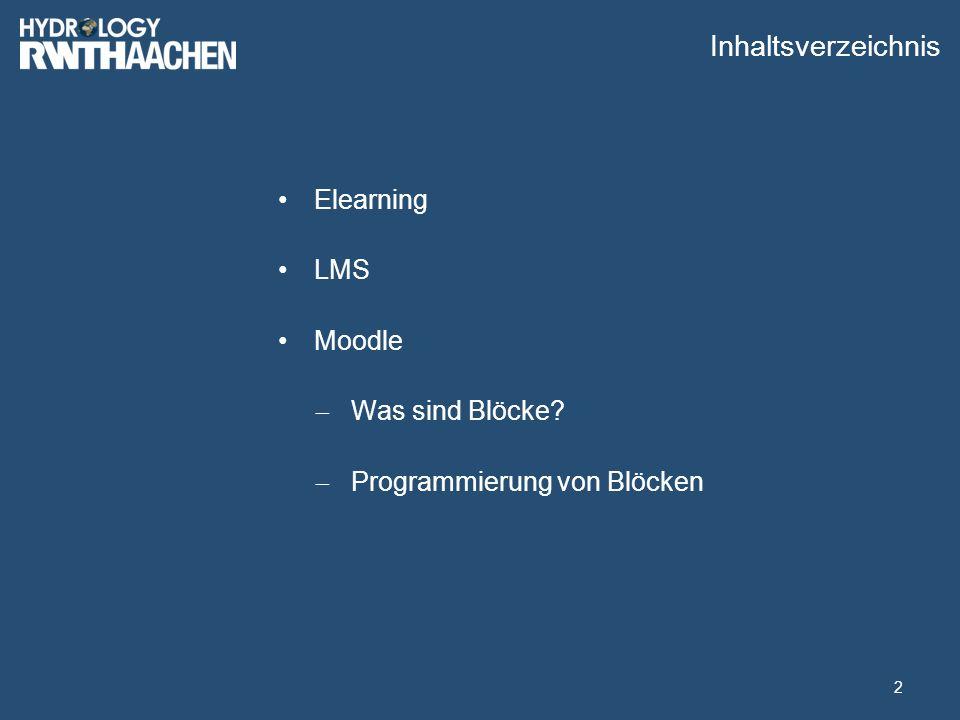 Inhaltsverzeichnis Elearning LMS Moodle  Was sind Blöcke  Programmierung von Blöcken 2