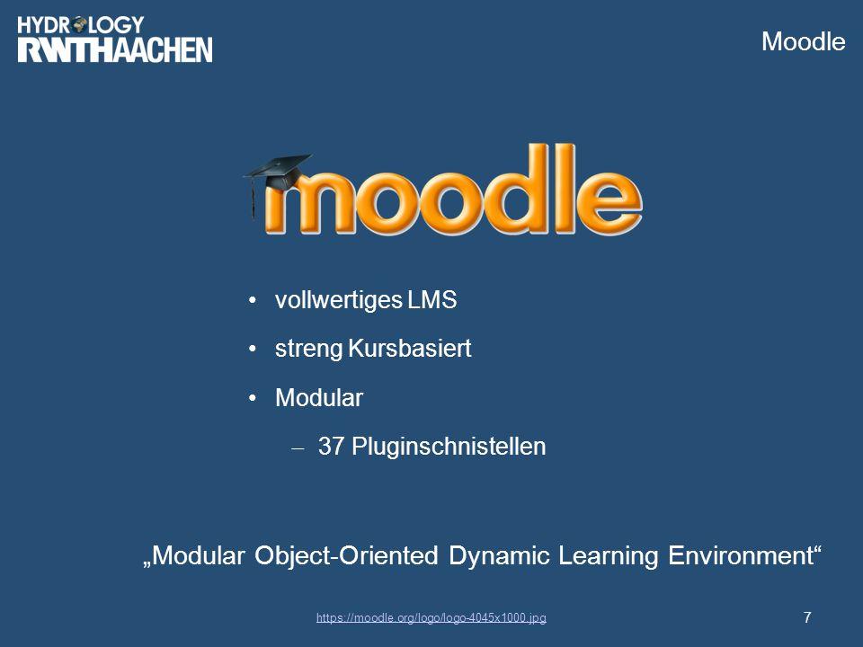 """Moodle """"Modular Object-Oriented Dynamic Learning Environment 7 https://moodle.org/logo/logo-4045x1000.jpg vollwertiges LMS streng Kursbasiert Modular  37 Pluginschnistellen"""