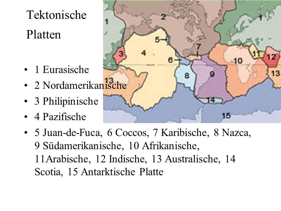 Tektonische Platten 1 Eurasische 2 Nordamerikanische 3 Philipinische 4 Pazifische 5 Juan-de-Fuca, 6 Coccos, 7 Karibische, 8 Nazca, 9 Südamerikanische,