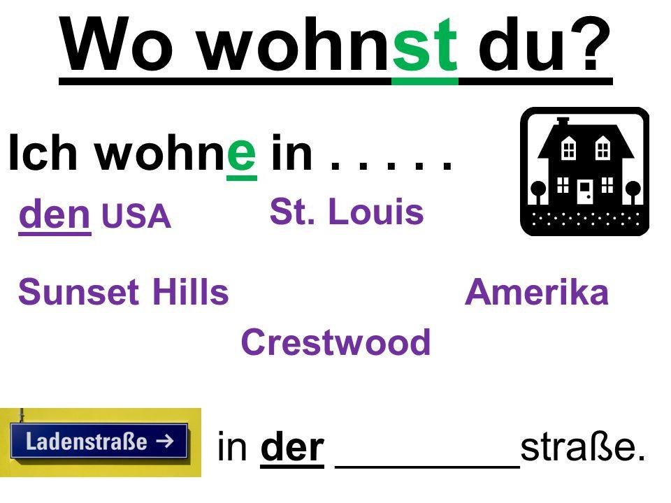 Wo wohnst du. Ich wohn e in..... in der ________straße.