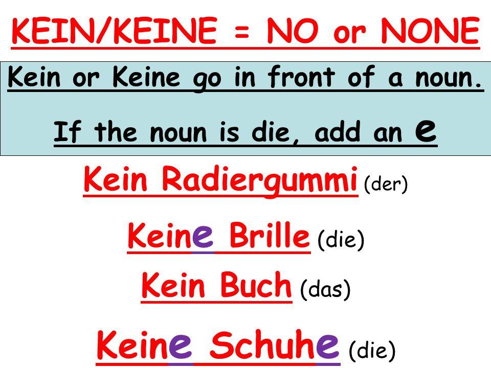 KEIN/KEINE = NO or NONE Kein or Keine go in front of a noun.