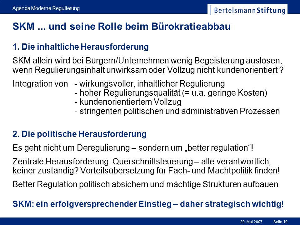 29. Mai 2007 Agenda Moderne Regulierung Seite 10 SKM... und seine Rolle beim Bürokratieabbau 1. Die inhaltliche Herausforderung SKM allein wird bei Bü