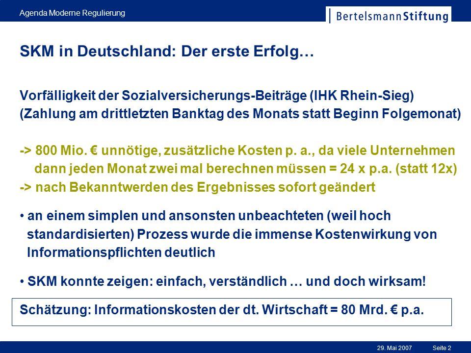 29. Mai 2007 Agenda Moderne Regulierung Seite 2 Vorfälligkeit der Sozialversicherungs-Beiträge (IHK Rhein-Sieg) (Zahlung am drittletzten Banktag des M