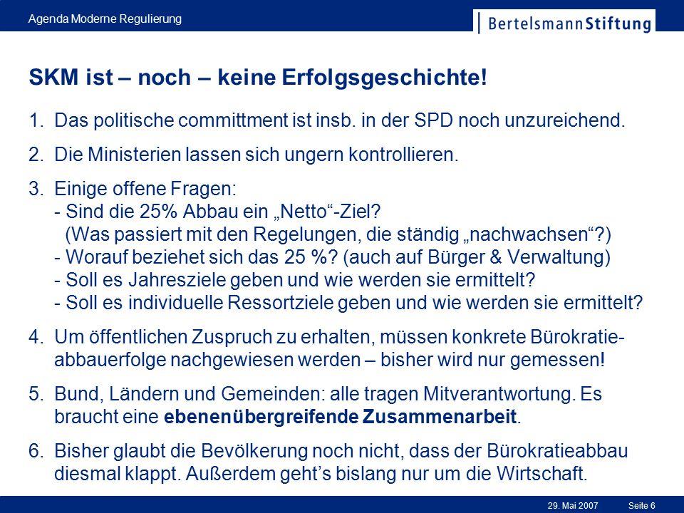 29. Mai 2007 Agenda Moderne Regulierung Seite 6 SKM ist – noch – keine Erfolgsgeschichte! 1.Das politische committment ist insb. in der SPD noch unzur