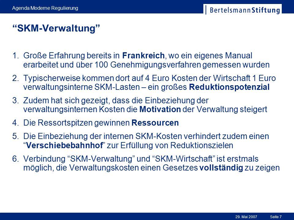 """29. Mai 2007 Agenda Moderne Regulierung Seite 7 """"SKM-Verwaltung"""" 1.Große Erfahrung bereits in Frankreich, wo ein eigenes Manual erarbeitet und über 10"""