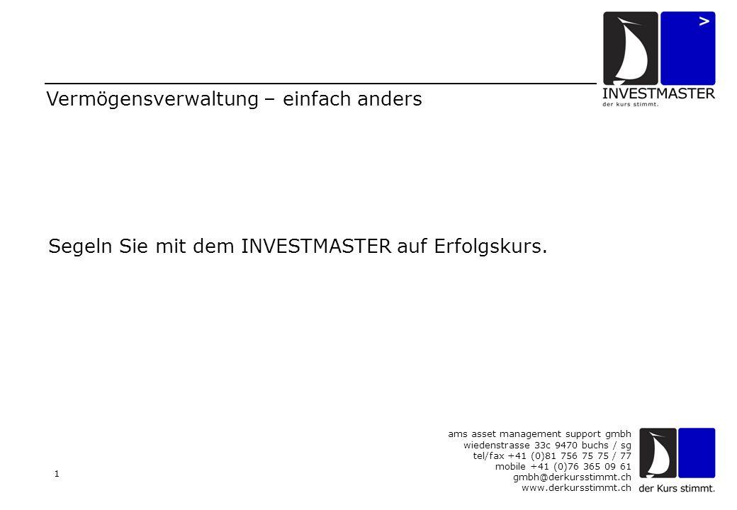 ams asset management support gmbh wiedenstrasse 33c 9470 buchs / sg tel/fax +41 (0)81 756 75 75 / 77 mobile +41 (0)76 365 09 61 gmbh@derkursstimmt.ch www.derkursstimmt.ch 12 Risiko-Management wird GROSS geschrieben Unser ATEM-Indikator gibt klare Signale, wann die Investitionsrisiken zu hoch sind, um voll investiert zu sein.