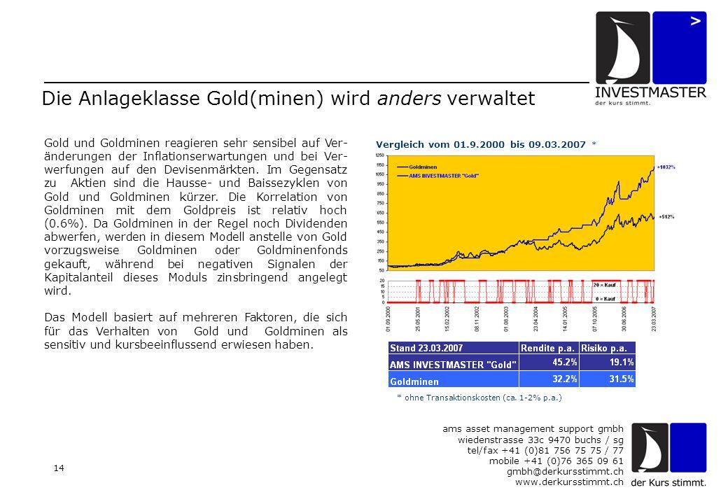 ams asset management support gmbh wiedenstrasse 33c 9470 buchs / sg tel/fax +41 (0)81 756 75 75 / 77 mobile +41 (0)76 365 09 61 gmbh@derkursstimmt.ch www.derkursstimmt.ch 14 Die Anlageklasse Gold(minen) wird anders verwaltet Gold und Goldminen reagieren sehr sensibel auf Ver- änderungen der Inflationserwartungen und bei Ver- werfungen auf den Devisenmärkten.