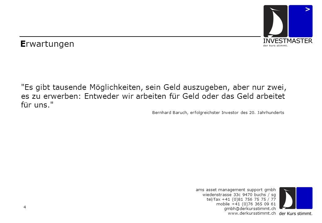 ams asset management support gmbh wiedenstrasse 33c 9470 buchs / sg tel/fax +41 (0)81 756 75 75 / 77 mobile +41 (0)76 365 09 61 gmbh@derkursstimmt.ch www.derkursstimmt.ch 4 Erwartungen Es gibt tausende Möglichkeiten, sein Geld auszugeben, aber nur zwei, es zu erwerben: Entweder wir arbeiten für Geld oder das Geld arbeitet für uns. Bernhard Baruch, erfolgreichster Investor des 20.