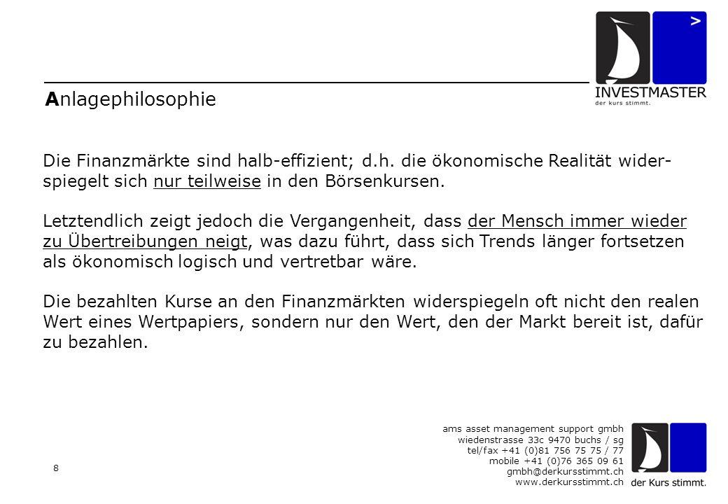 ams asset management support gmbh wiedenstrasse 33c 9470 buchs / sg tel/fax +41 (0)81 756 75 75 / 77 mobile +41 (0)76 365 09 61 gmbh@derkursstimmt.ch www.derkursstimmt.ch 8 Anlagephilosophie Die Finanzmärkte sind halb-effizient; d.h.