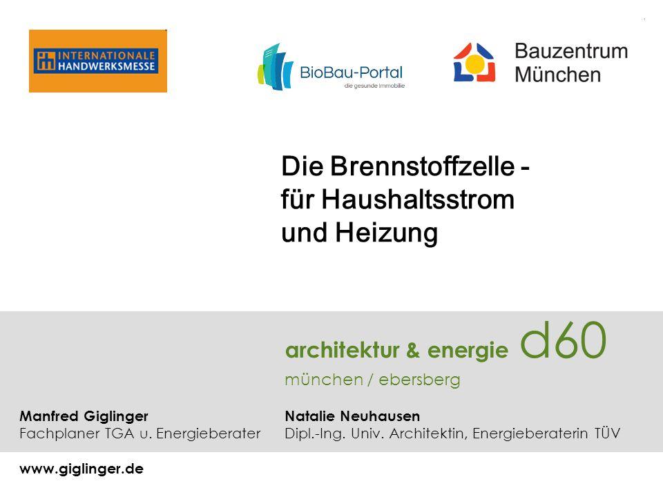 Die Brennstoffzelle - für Haushaltsstrom und Heizung architektur & energie d60 münchen / ebersberg Manfred Giglinger Natalie Neuhausen Fachplaner TGA u.