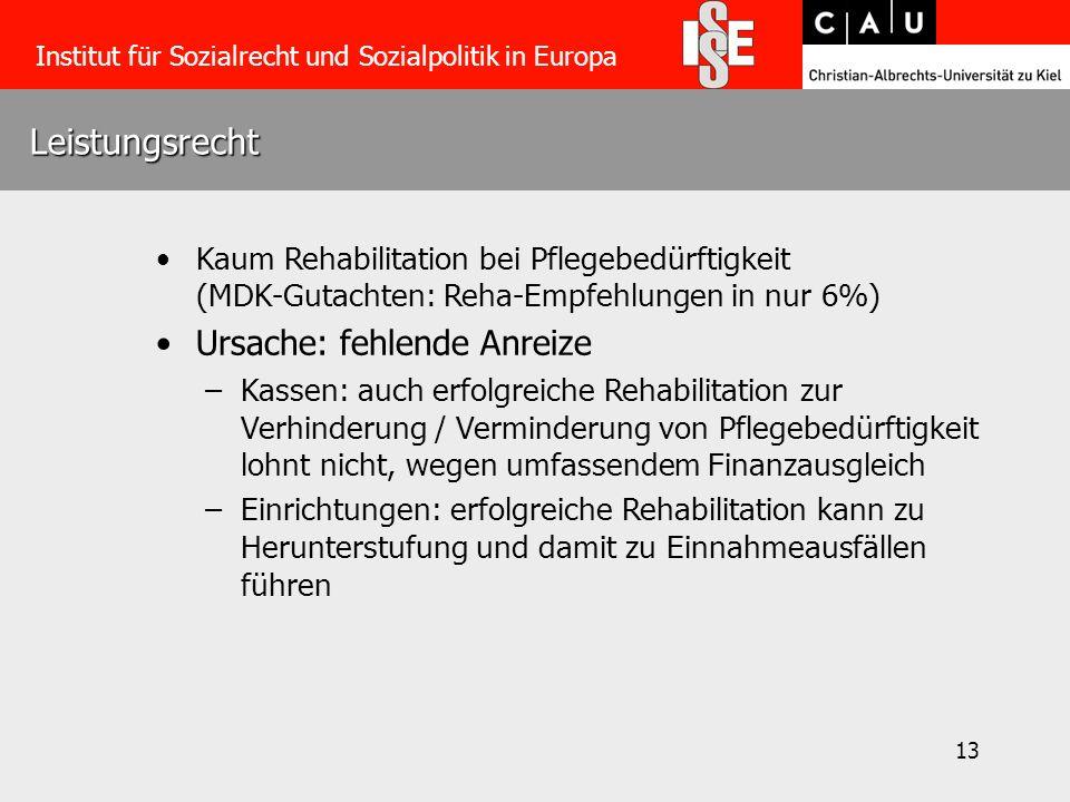 13 Leistungsrecht Institut für Sozialrecht und Sozialpolitik in Europa Kaum Rehabilitation bei Pflegebedürftigkeit (MDK-Gutachten: Reha-Empfehlungen i