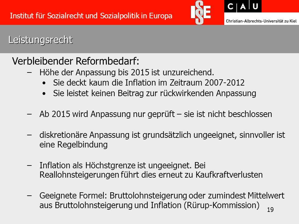 19 Leistungsrecht Institut für Sozialrecht und Sozialpolitik in Europa Verbleibender Reformbedarf: –Höhe der Anpassung bis 2015 ist unzureichend.