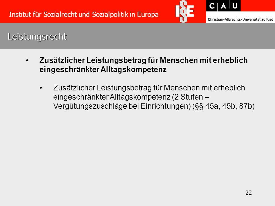 22 Leistungsrecht Institut für Sozialrecht und Sozialpolitik in Europa Zusätzlicher Leistungsbetrag für Menschen mit erheblich eingeschränkter Alltags