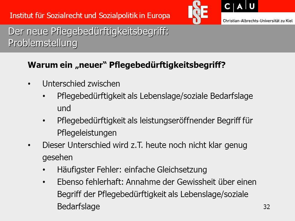 """32 Der neue Pflegebedürftigkeitsbegriff: Problemstellung Institut für Sozialrecht und Sozialpolitik in Europa Warum ein """"neuer Pflegebedürftigkeitsbegriff."""