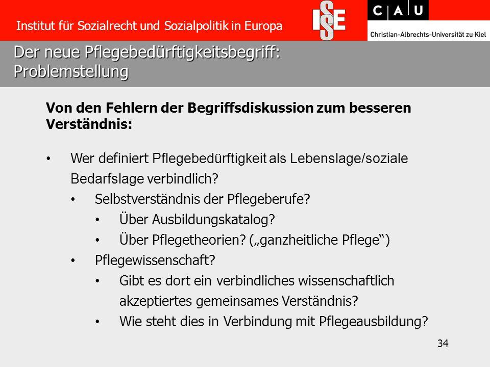 34 Der neue Pflegebedürftigkeitsbegriff: Problemstellung Institut für Sozialrecht und Sozialpolitik in Europa Von den Fehlern der Begriffsdiskussion z