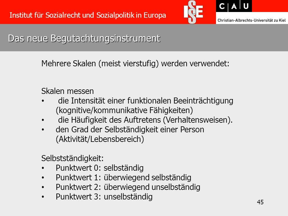 45 Das neue Begutachtungsinstrument Institut für Sozialrecht und Sozialpolitik in Europa Mehrere Skalen (meist vierstufig) werden verwendet: Skalen messen die Intensität einer funktionalen Beeinträchtigung (kognitive/kommunikative Fähigkeiten) die Häufigkeit des Auftretens (Verhaltensweisen).