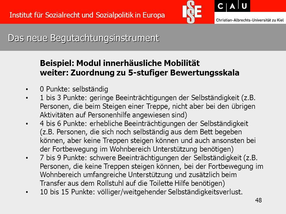 48 Das neue Begutachtungsinstrument Institut für Sozialrecht und Sozialpolitik in Europa Beispiel: Modul innerhäusliche Mobilität weiter: Zuordnung zu