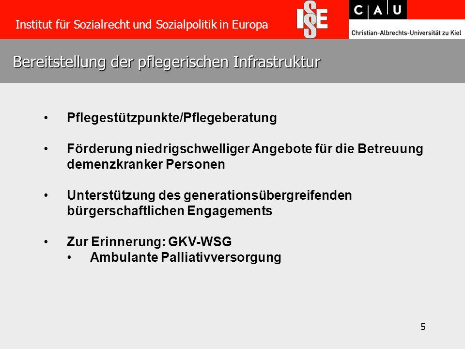 5 Bereitstellung der pflegerischen Infrastruktur Institut für Sozialrecht und Sozialpolitik in Europa Pflegestützpunkte/Pflegeberatung Förderung niedr
