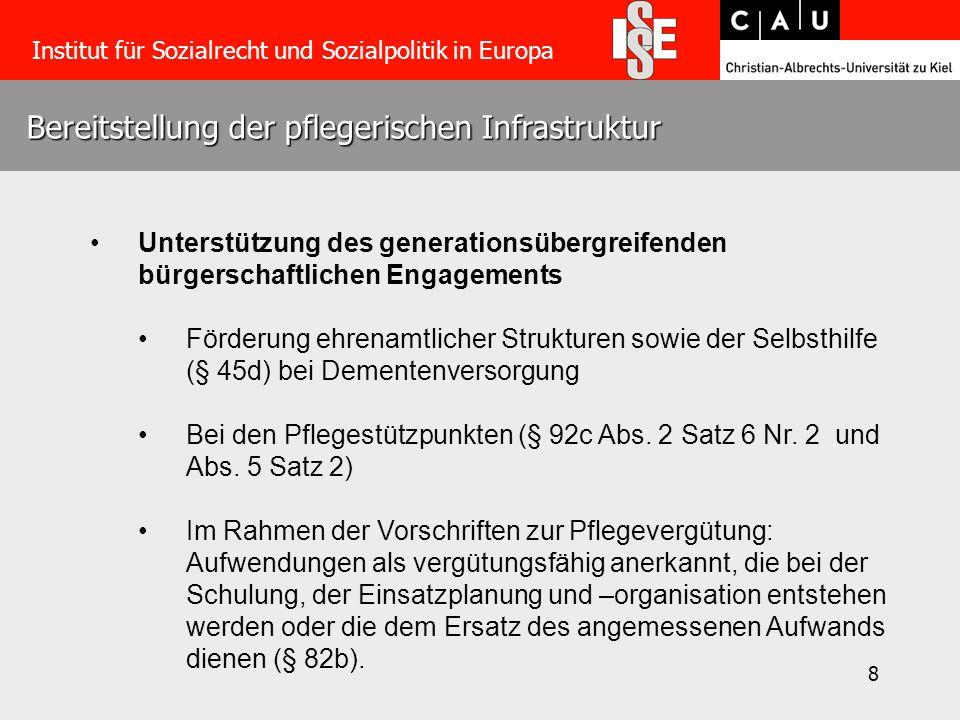 8 Bereitstellung der pflegerischen Infrastruktur Institut für Sozialrecht und Sozialpolitik in Europa Unterstützung des generationsübergreifenden bürg