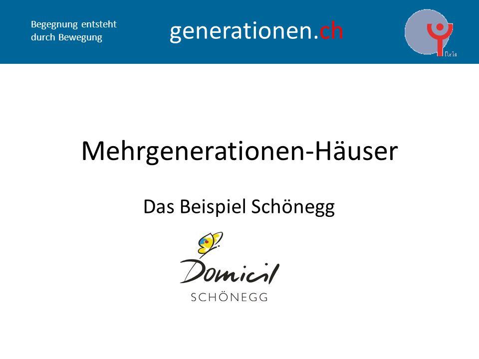 Begegnung entsteht durch Bewegung generationen.ch Mehrgenerationen-Häuser Das Beispiel Schönegg