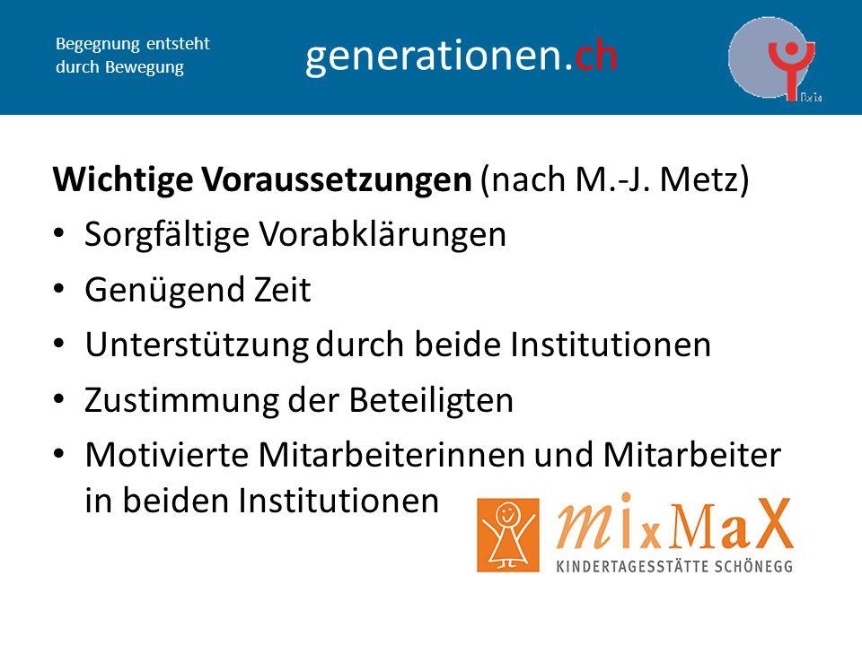Begegnung entsteht durch Bewegung generationen.ch Wichtige Voraussetzungen (nach M.-J.
