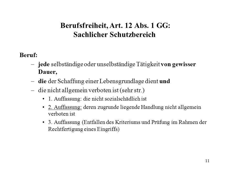 11 Berufsfreiheit, Art. 12 Abs.