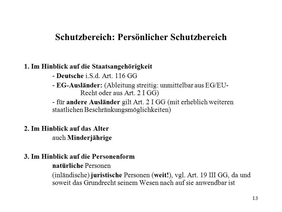 13 Schutzbereich: Persönlicher Schutzbereich 1.